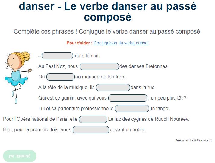 Exercice De Conjugaison Le Verbe Danser Au Passe Compose French Activities Teaching French Teaching