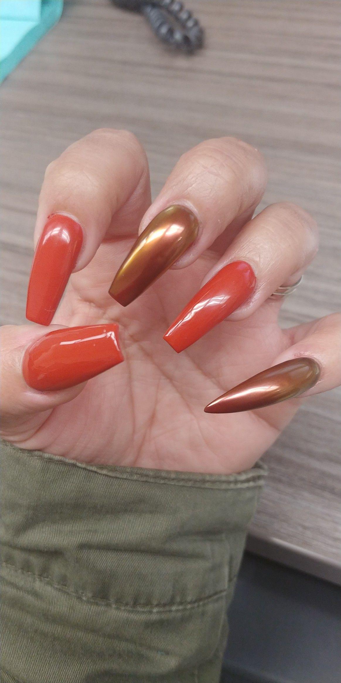 Burnt Orange 🍂 (With images) | Burnt orange, Nail art, Nails