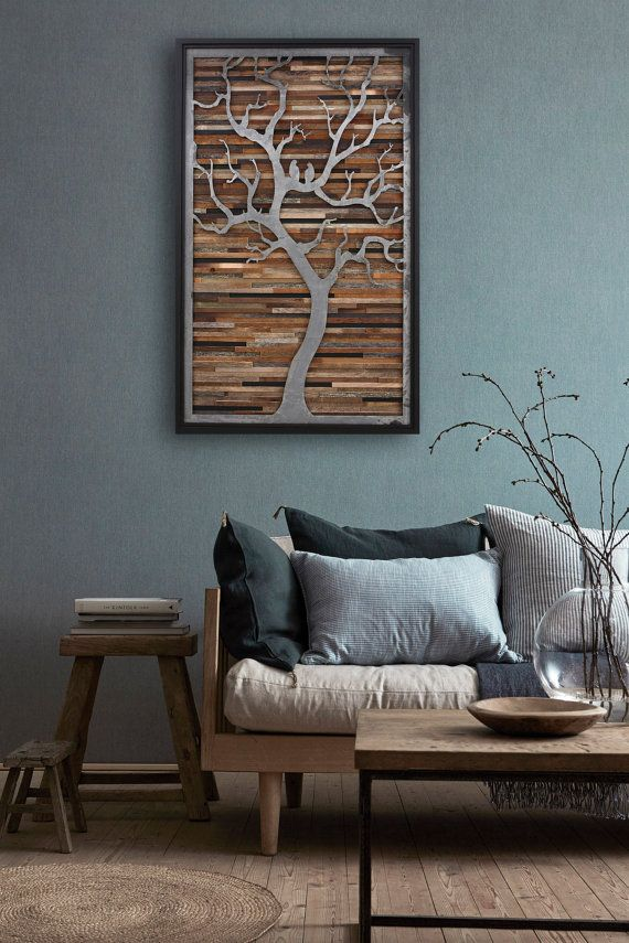 Photo of Wood wall art, Metal tree,  Large wall art, wood wall sculpture