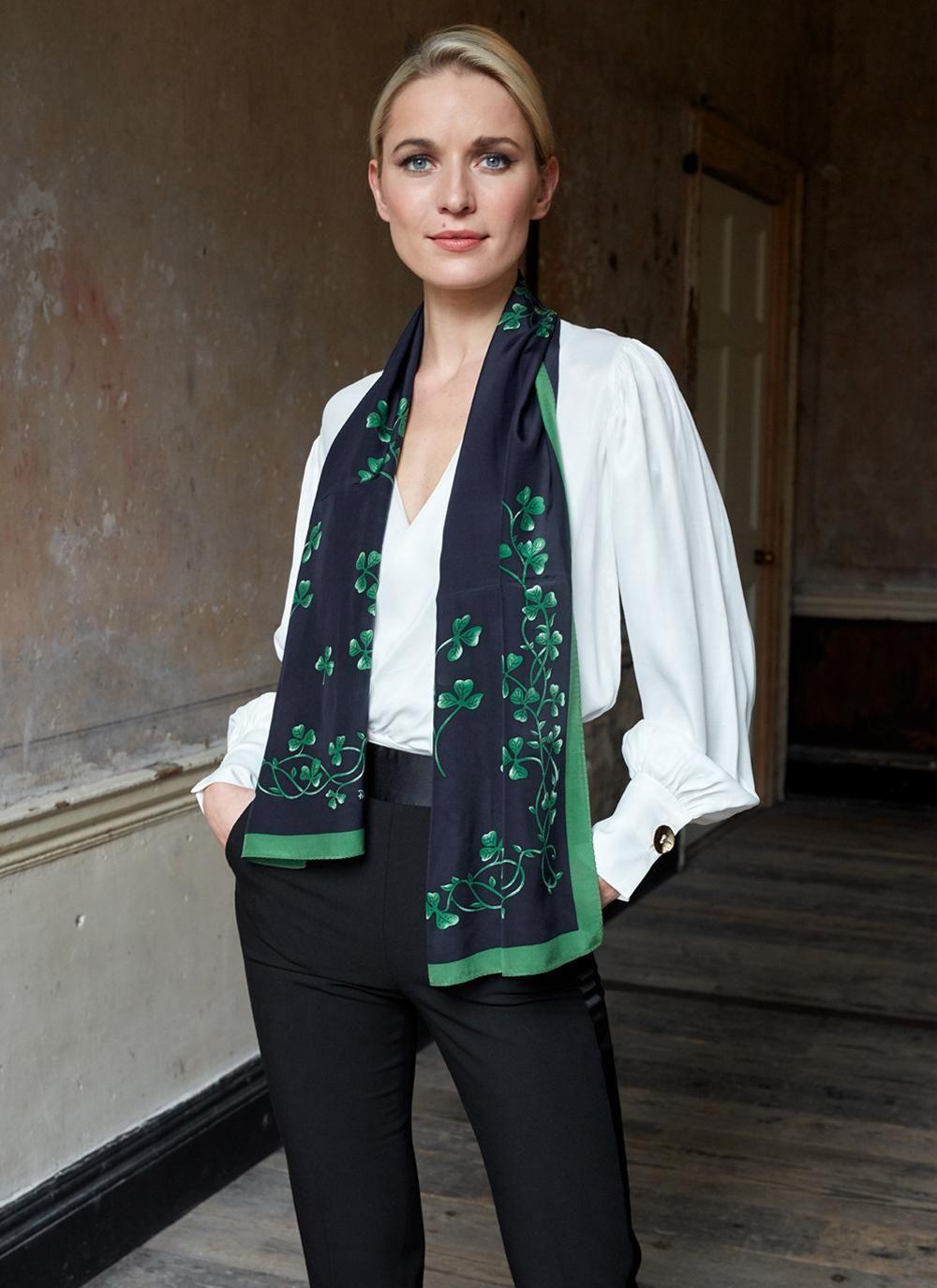 24072e0560e143 Shamrock Silk Scarf #shamrock #silkscarf #ireland #dublin #gifts  #irishgifts #irish #stpatricksday #breretonjewellers #thingstoseeinireland  #irelandvaction ...