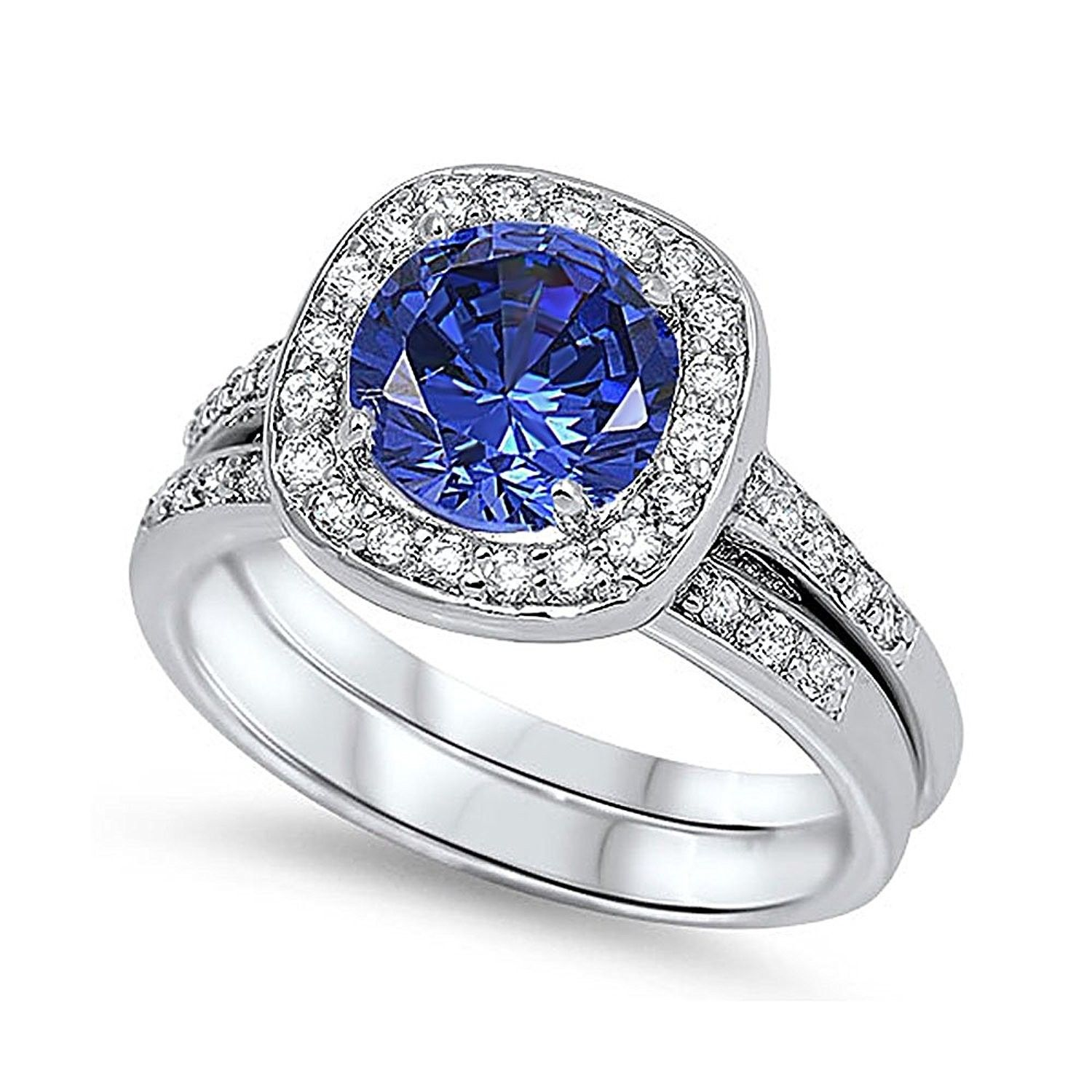 Sterling Silver Round Simulated Blue Sapphire CZ Halo