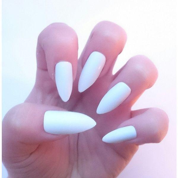 White Glue on Kawaii False Nails Long White Almond Nails Stiletto ...
