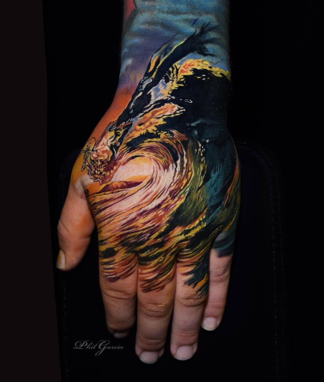 Shore Break Hand Tattoo Hand tattoos, Tattoo designs men
