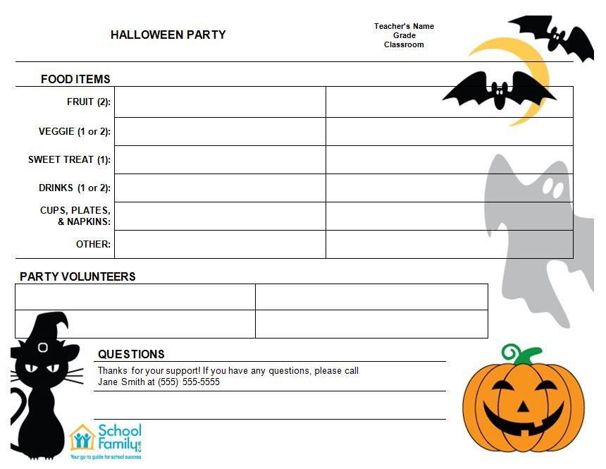 Halloween Classroom Party SignUp Sheet  Halloween