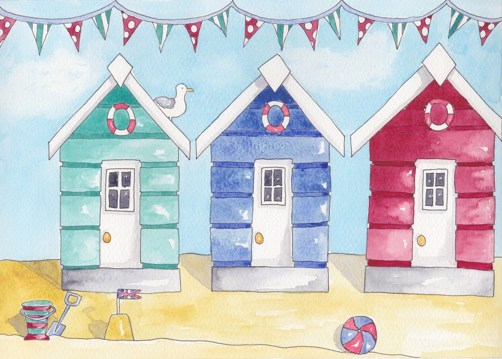 Pretty Watercolour Print Of Three Beach Huts In A Row With White Mount And Cello Bag Ready For You To Frame Perfect Any Nautical Themed