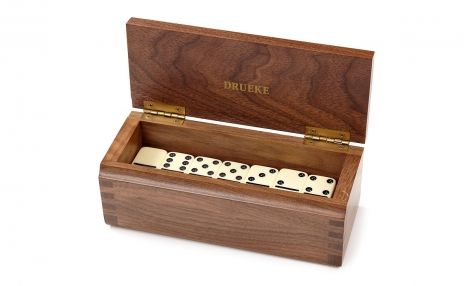 Double Six Dominoes Set in Walnut Wood Case - Dominoes - Parlour Games - Zontik Games