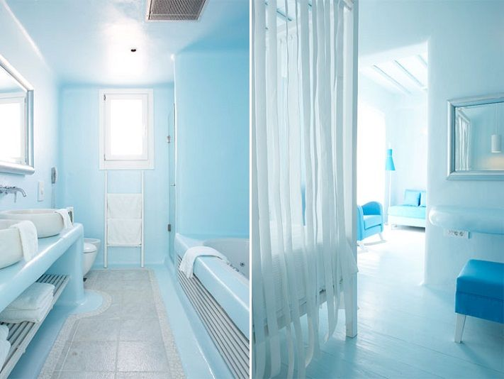 Bathroom Mykonos Greece Hotels I Like The White Strips Of Material For A Privacy Cure
