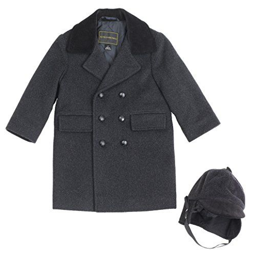 Rothschild Toddler Boys Wool Blend Long Peacoat W/ Hat ...