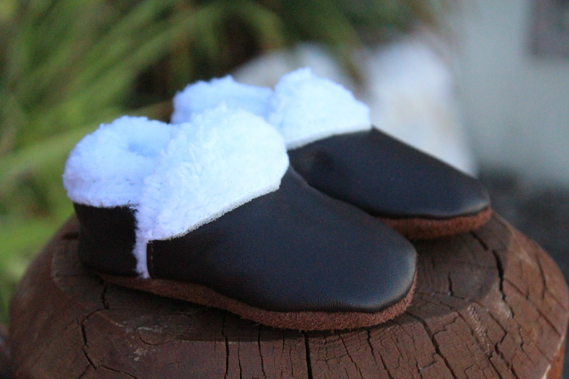 Baby Leather & Sherpa Lined Winter Moccs