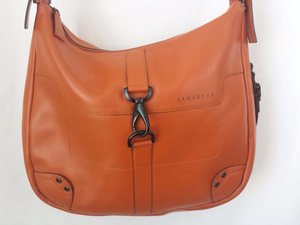Lamarthe Orange Leather Bag Purse Hobo Shoulder Cross Body #Lamarthe #ShoulderBag