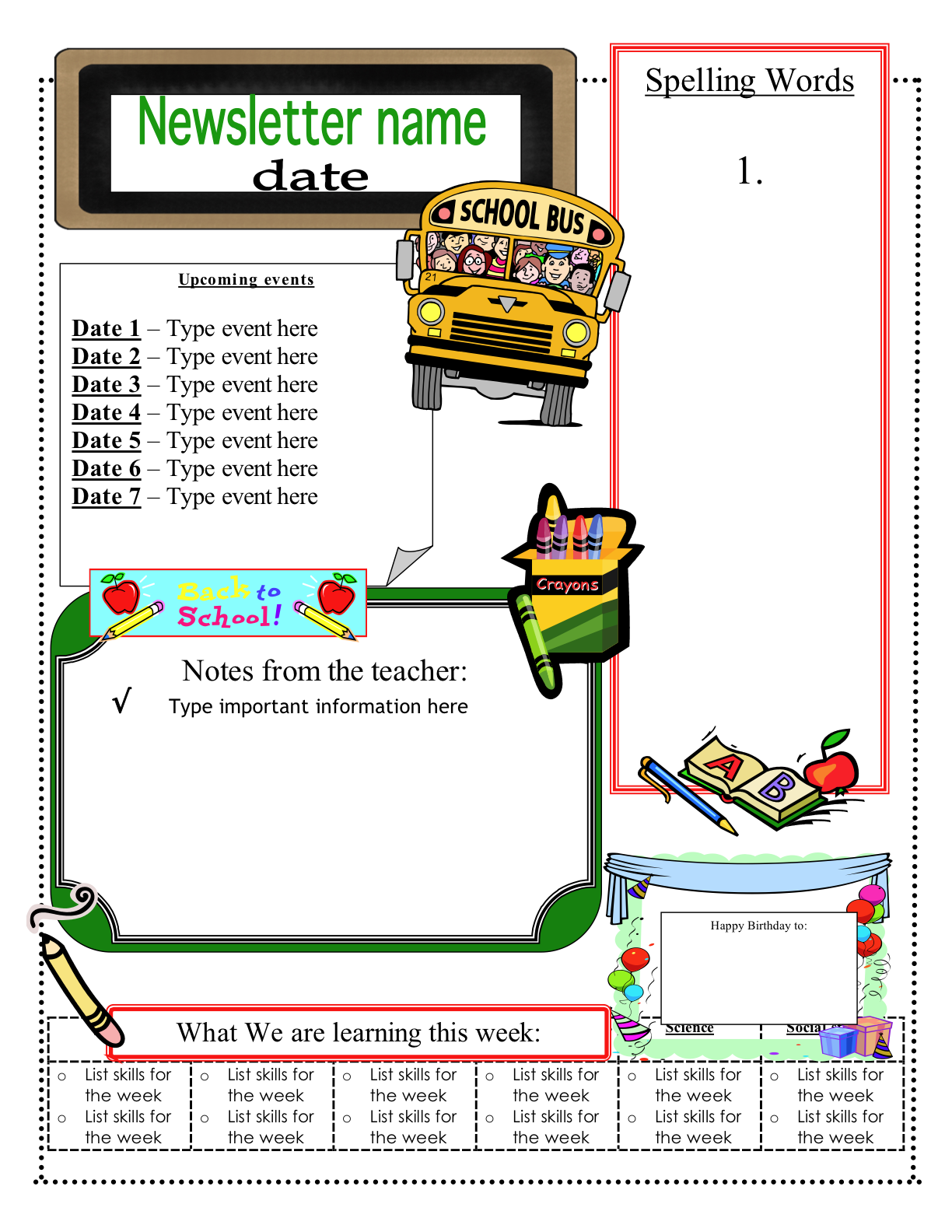 Free classroom newsletter templates check out these eight for Free newsletter templates for teachers