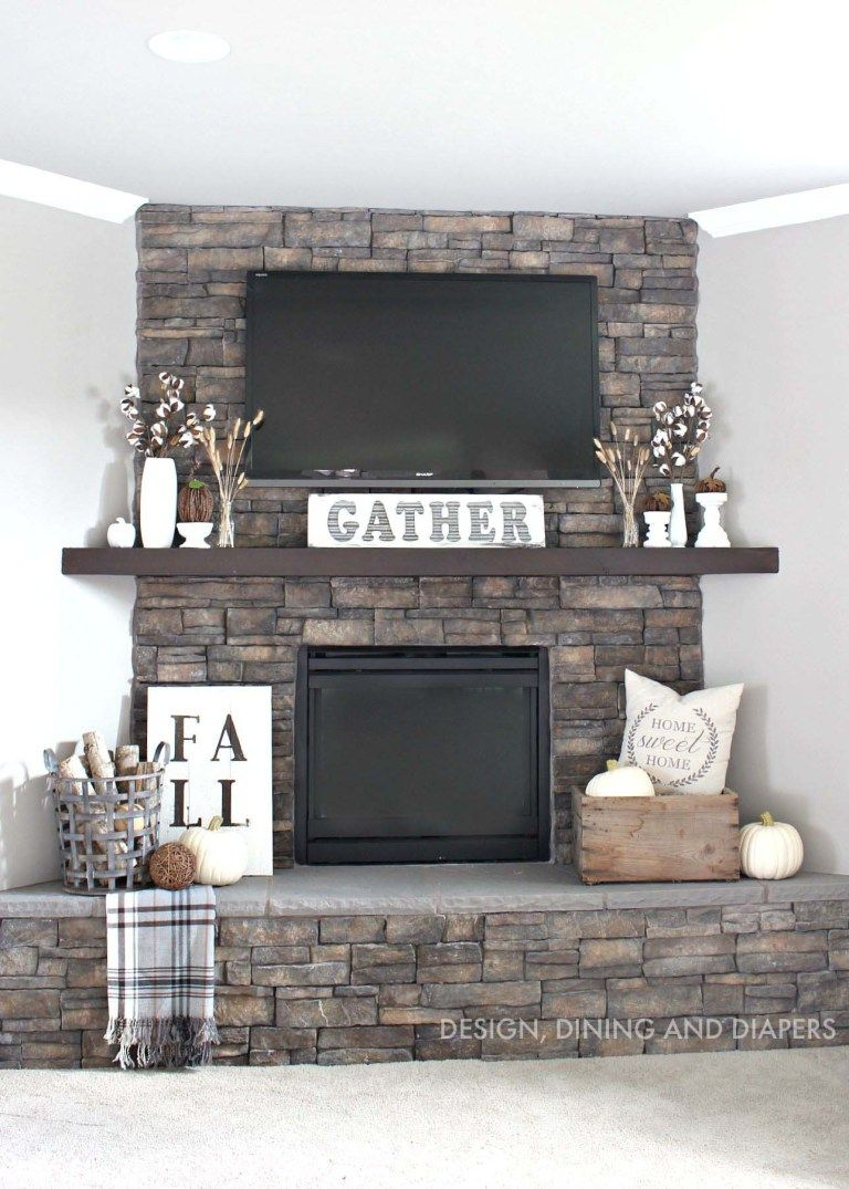 Ideas For Decorating Around A Tv Over The Fireplace Mantel Stone
