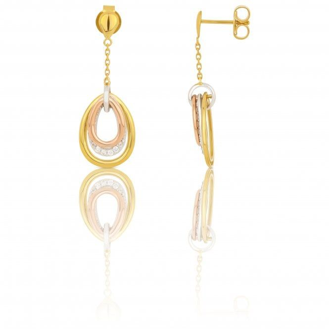 80adc185d6e95b New 9ct Multi Colour Gold Diamond Loop Drop Earrings - Jewellery from William  May Jewellers UK