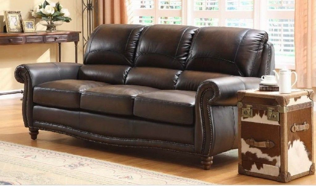 Gorgeous Classic Style Big Sofas Brown Color Artistic Design Ideas With  Leather Material For Traditional Or Rustic Living Room Interior Decoration