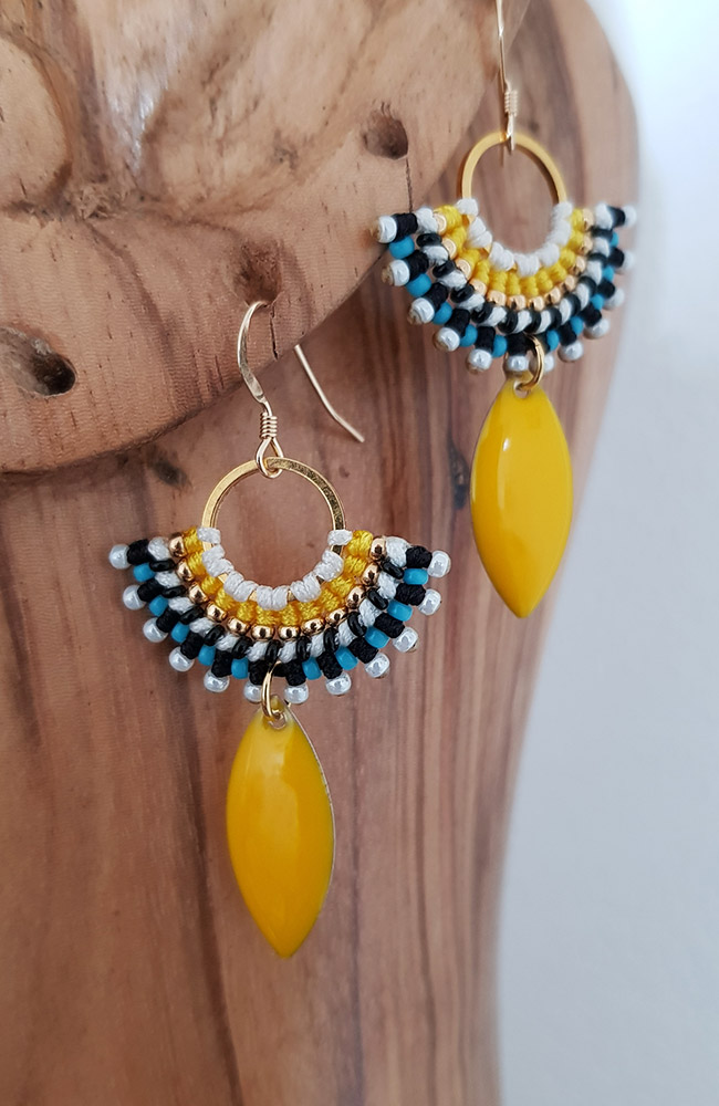 Femmes Elegance Colorful Beads Tassel Fringed Drop Dangle Ear Stud Crochet Boucles D/'oreilles
