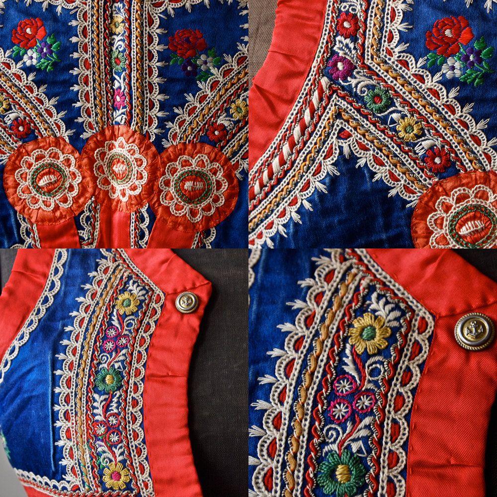 Czech Moravian embroidery close ups on boys vest