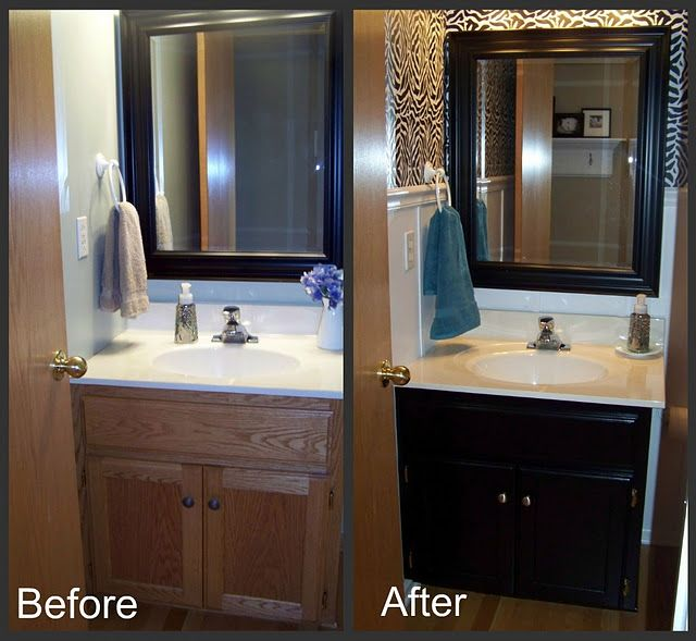 Before And After Of A Powder Room Inexpensive But