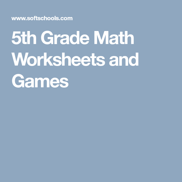5th Grade Math Worksheets and Games | 5th grade | Pinterest | Math ...