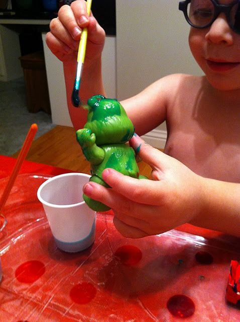 let the kids go wild and paint their plastic toys w/washable paint