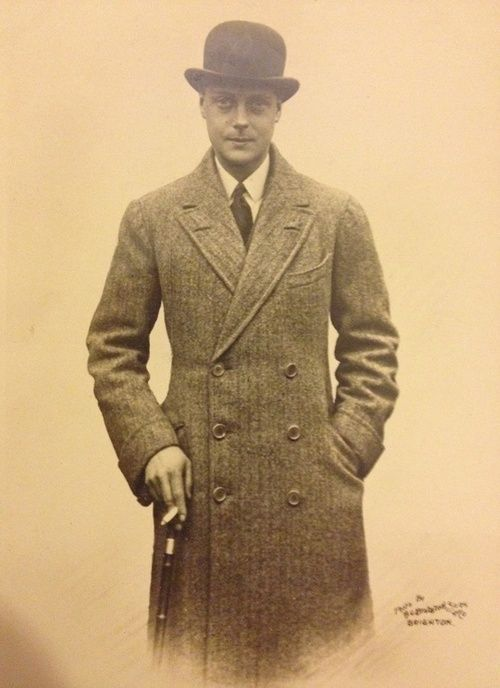 Edward VIII with a tailored coat, walking stick, and ...