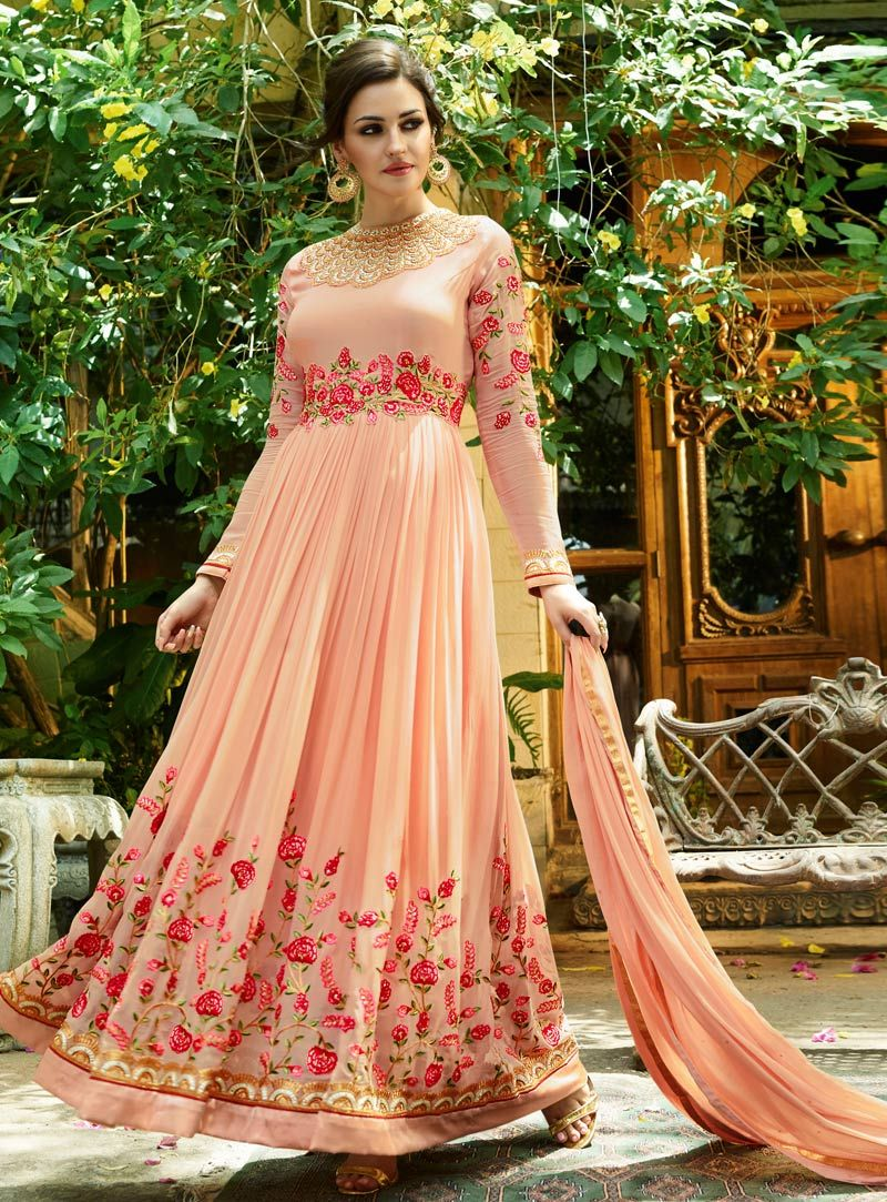 Peach georgette ankle length anarkali suit india fashion