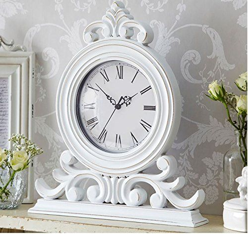 White Distressed Shabby Chic Mantel Clock Amazon Co Uk Kitchen Home Shabby Chic Mantel Mantel Clock Shabby Chic