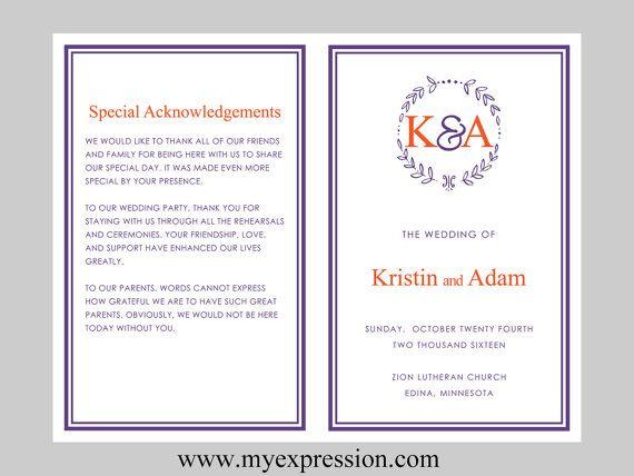 Diy Wedding Program Template Bifold Purple Orange Monogram Leaf