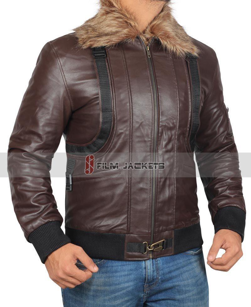 Mens Fur Collar Brown Leather Jacket