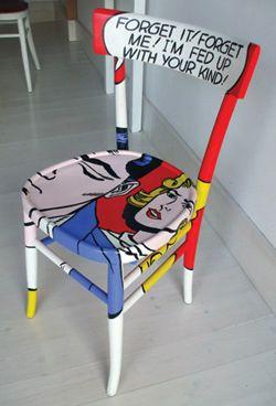 Decorare vecchie sedie sedia in stile roy lichtenstein for Decorare sedia legno