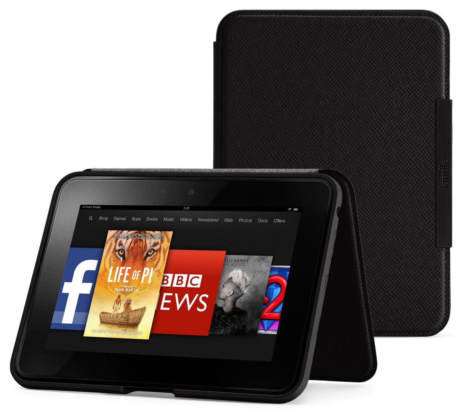 Amazon kindle fire hd 7 standing leather cover onyx