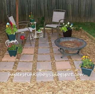 Stone With Mulch Patio Idea For Around Fire Pit