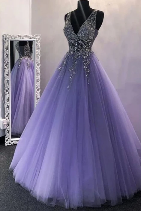 A Line V Neck Purple Beaded Long Prom Dresses, V Neck Backless Purple Long Formal Evening Dresses cg7897