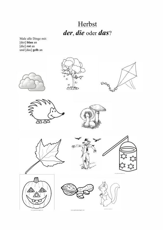 Genusmarkierung In Verschiedenen Themen Sprache Herbst Vorschule Herbst Sprache