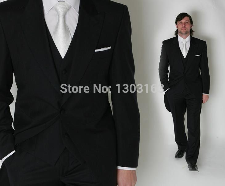 Click to Buy << Fashion Men Suits Morning style Black Groom ...