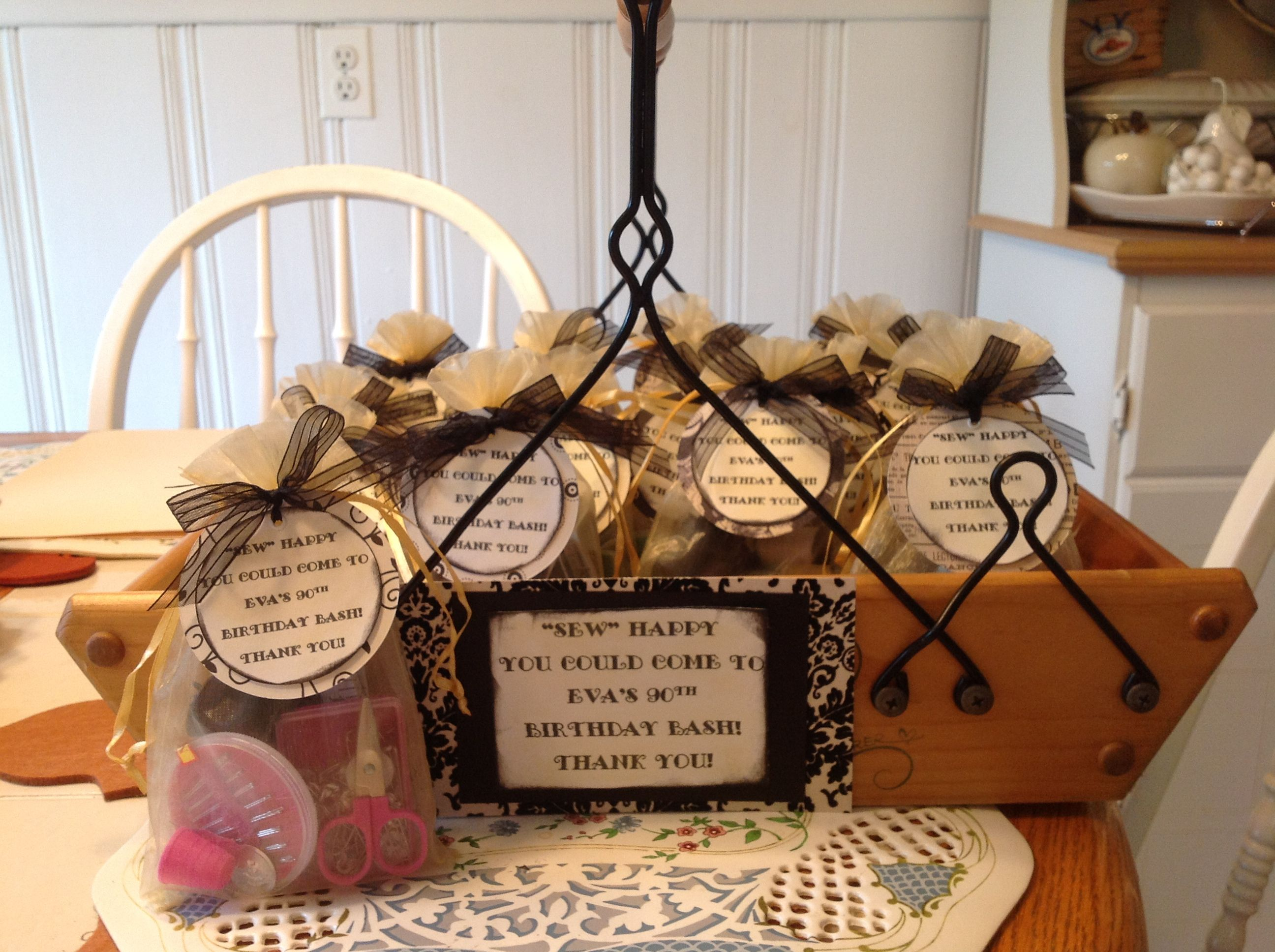 Mini sewing kits as a party favor for a 90th birthday for 90th birthday decoration