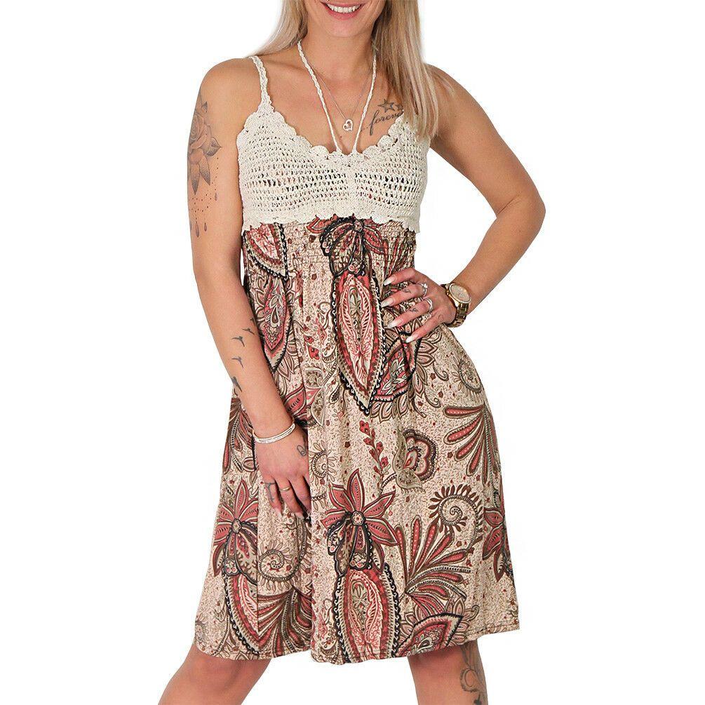 Sommer Träger Blumen Kleid gehäkelt Stickerei gestrickt ...