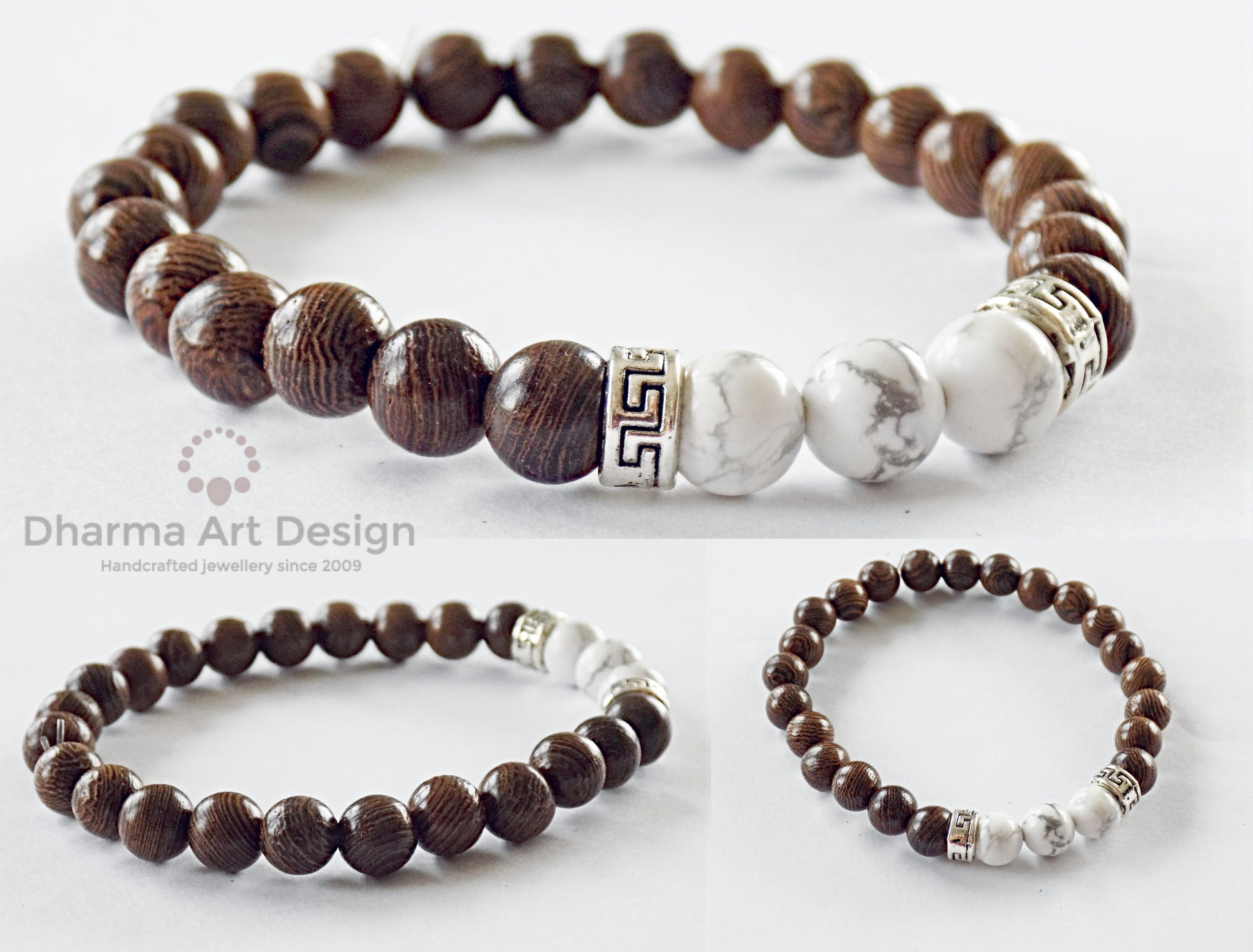 White Magnesite Beads Brown Wenge Wooden Ers