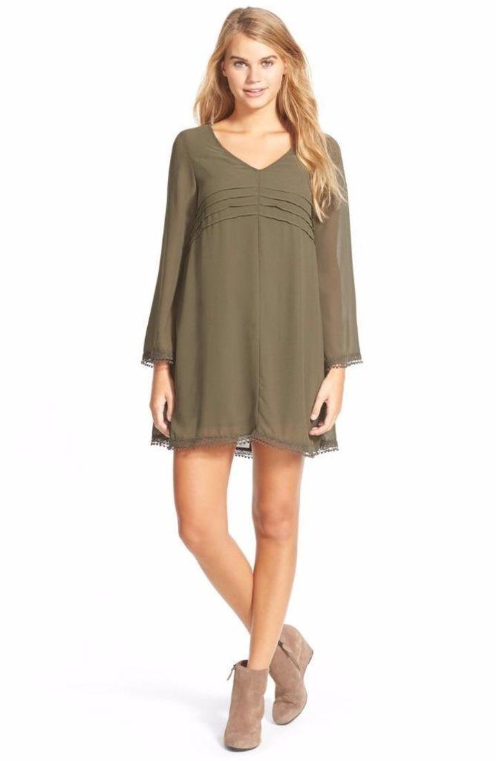 Dee elle long sleeve swingy shift dress size small green ftc