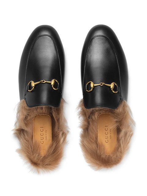 d72c622e8af Gucci Black Princetown Leather Fur Lined Mules in 2019 ...