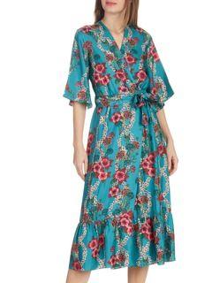 138a9d2d54b Robe midi portefeuille en soie imprimée fleurs Bleu by SANDRO