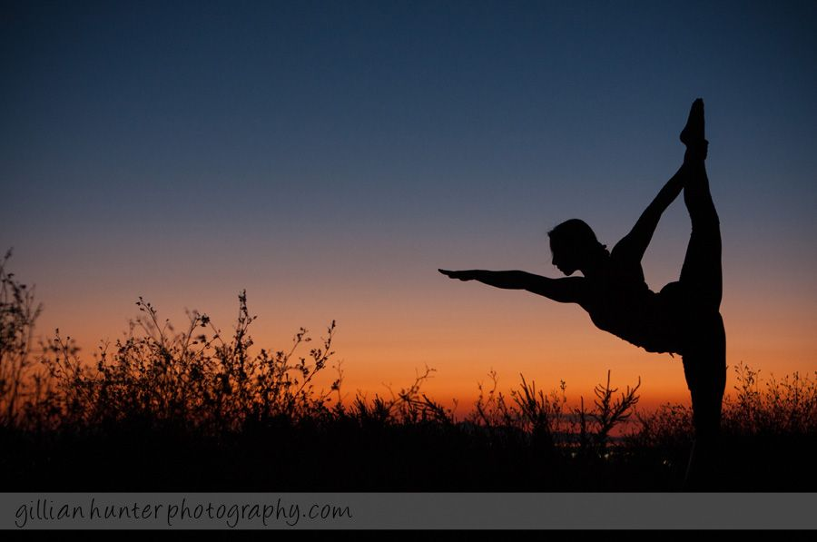 Standing Bow Pose Beautiful Silhouette Yoga At Sunset