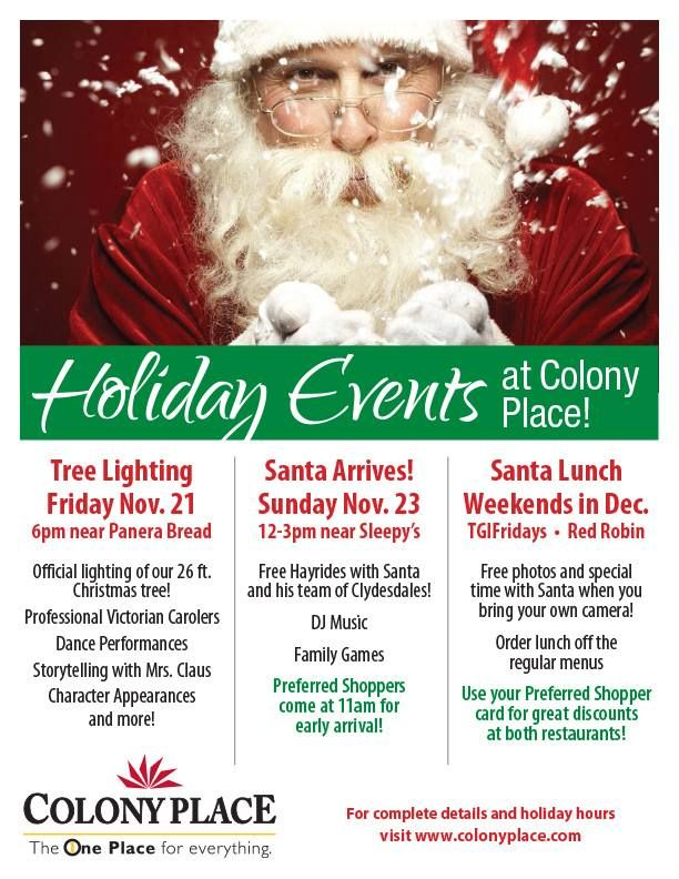 christmas holiday events at colony place in plymouth ma including santas arrival and lunch with santa each weekend in december - Christmas Events In Boston 2014