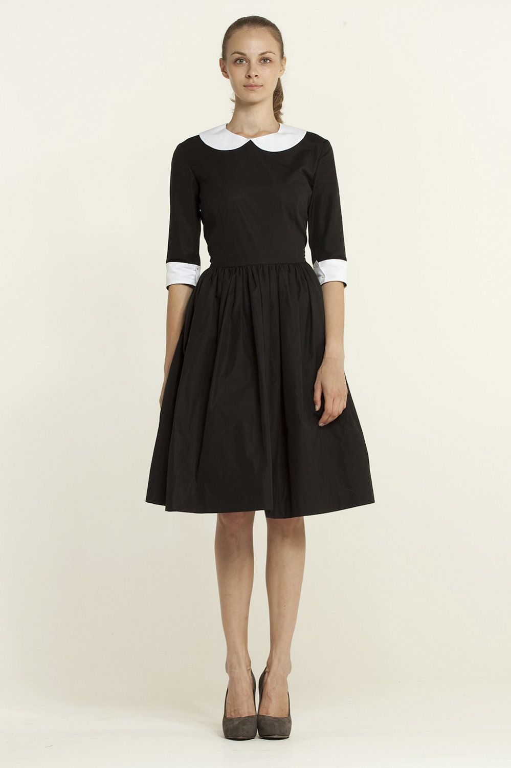 Custom made black cotton dress with two detachable collars and cuffs