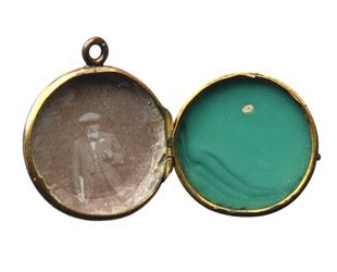 1890's malachite paste sphere locket, gilt metal, with early 1900's photo inside.
