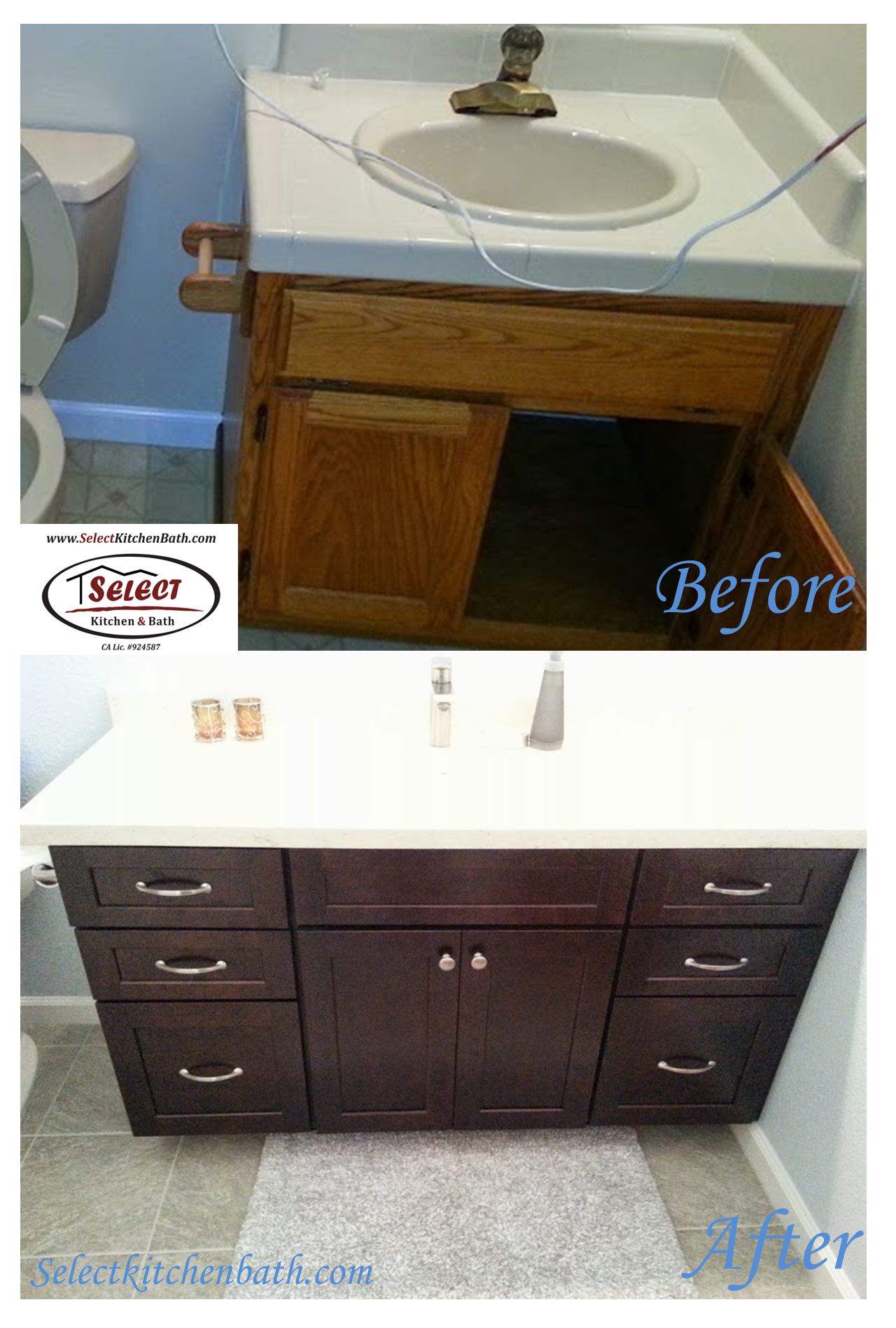 Superieur Before And After Vanity Cabinets And Top Select Kitchen U0026 Bath   Roseville  CA