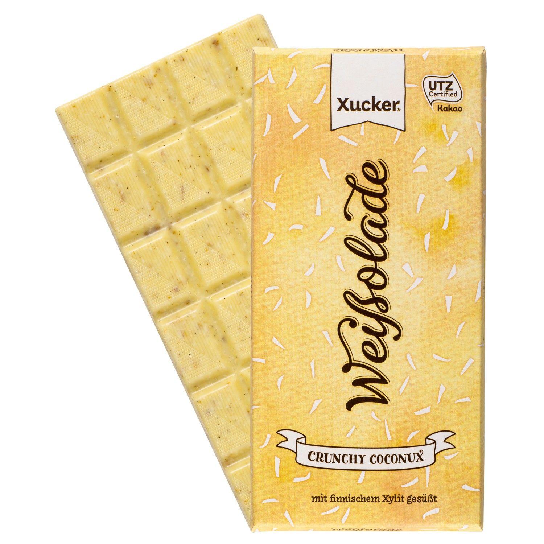 Xucker Weißolade Crunchy Cocnux - weiße Schokolade mit Kokosraspeln und Weizenflakes, nur mit Xylit gesüßt. GMO-frei. UTZ-zertifiziert.