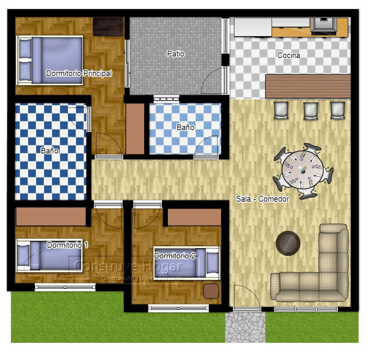 Plano de casa cuadrada modelos guerrilla and house for Planos casas chicas