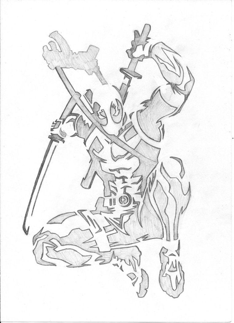 Deadpool Spray Paint Stencil