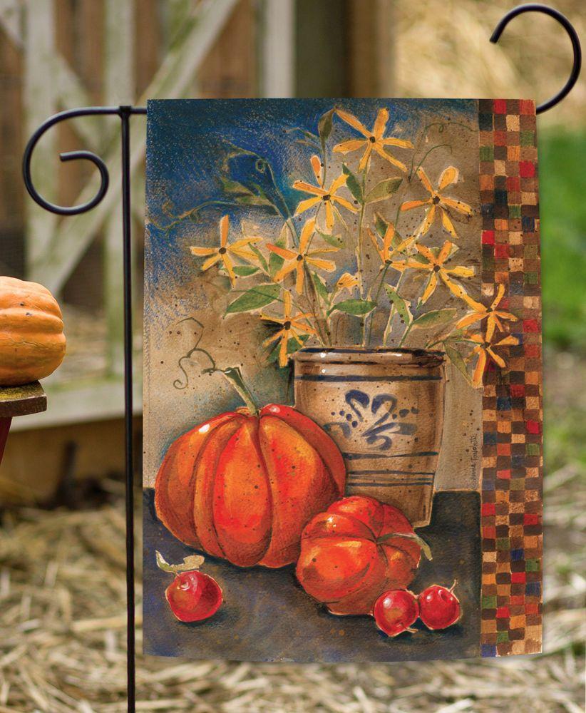 NEW Toland - Fall Crock - Rustic Autumn Leaves Pumpkin Flower Garden ...