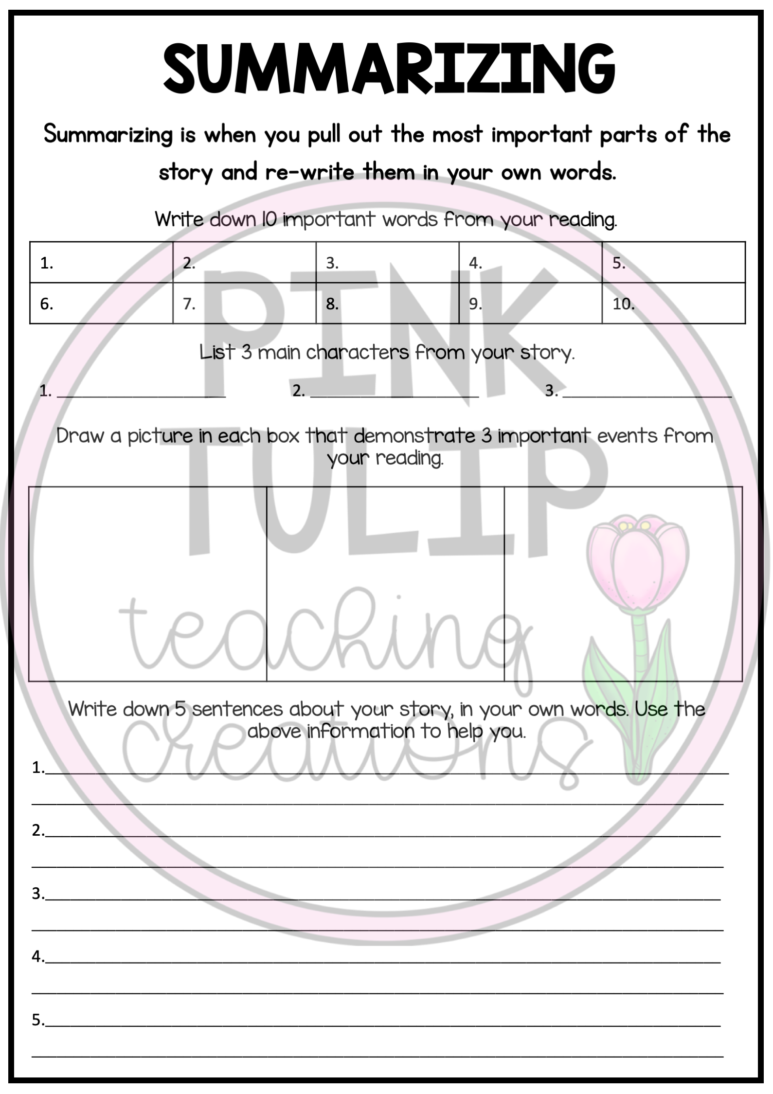 Reading Strategies Worksheets Use With Any Book Reading Comprehension Resources Reading Strategies Writing Comprehension [ 2249 x 1589 Pixel ]